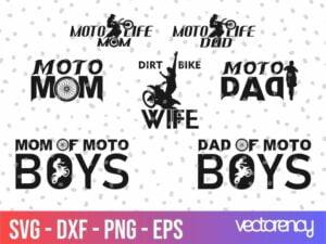 Family Dad Mom Motocross SVG Bundle Cut File Cricut