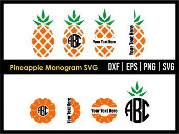 Pineapple Monogram SVG Cricut File