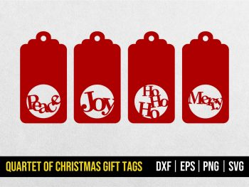 Quartet of Christmas Gift Tags SVG