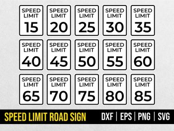 Speed limit road sign SVG Cut File