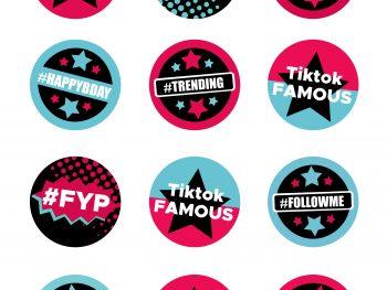 TikTok Cupcake Toppers Printable SVG Cut File Png