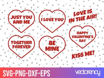 Valentines day stamps set vector SVG Cut File