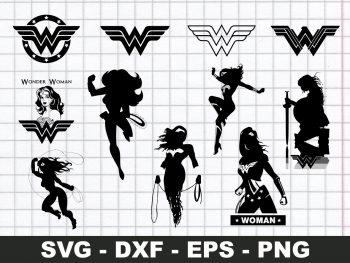 Wonder Woman Silhouette SVG Bundle Cricut File