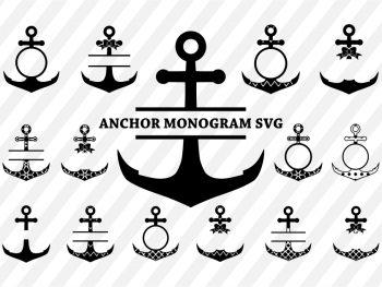 anchor svg monogram cut file vector