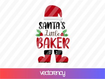 santa's little baker svg cricut file vector