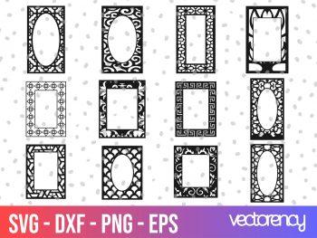12 Vector Type Frames For CNC Laser Cutting EPS CDR PNG File Transparent