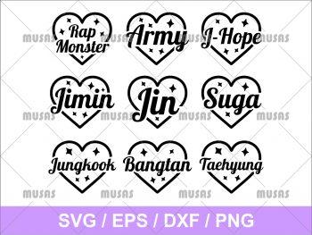 BTS Heart Name SVG Cricut File Vector