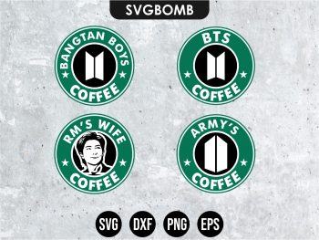 BTS RM Starbucks SVG Cricut Files