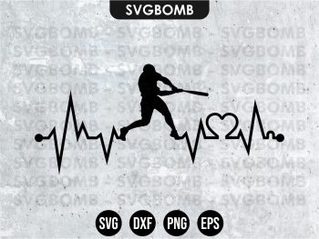 Baseball Love Heart Beat SVG Cricut File