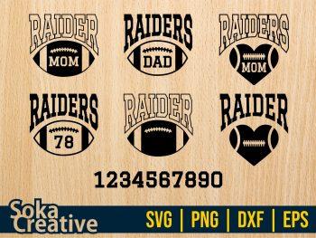 Family Mom Dad Raiders Football SVG Cricut File Vector