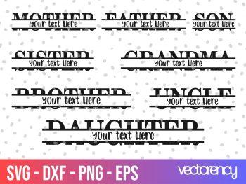 Family Split Monogram SVG Cut File PNG Transparent
