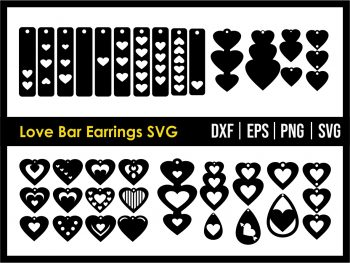 Love Bar Earrings SVG Cricut File vector