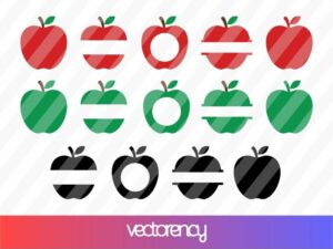 Teacher Apple Monogram SVG Cricut File Vector