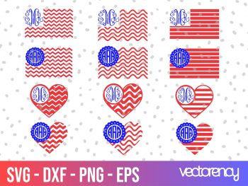 US Flag Monogram SVG Cricut File