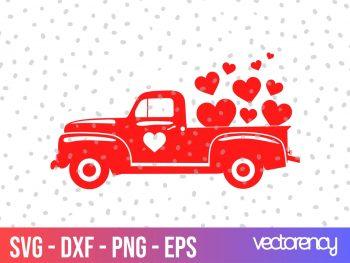 vintage truck valentines svg cut file png transparent