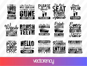 Bathroom Signs SVG Cricut File EPS Vector