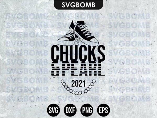 Chucks and Pearls 2021 svg cricut file eps vector