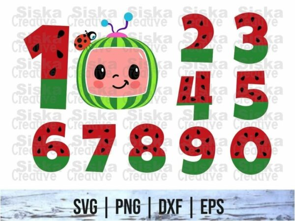 Cocomelon Watermelon Numbers SVG