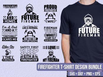 Firefighter T-Shirt Design SVG Bundle