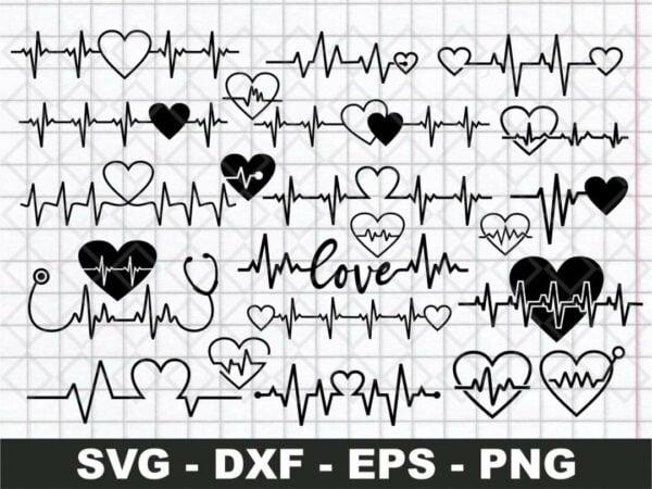 Heartbeat Valentine's SVG Cut File png transparent