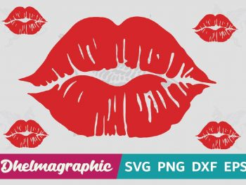 Red Lips Cut File SVG