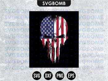 Skull USA Punisher SVG