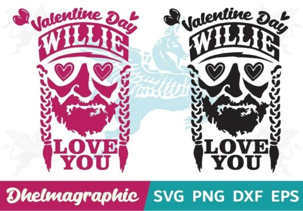 Willie Nelson Valentine Day SVG EPS DXF PNG