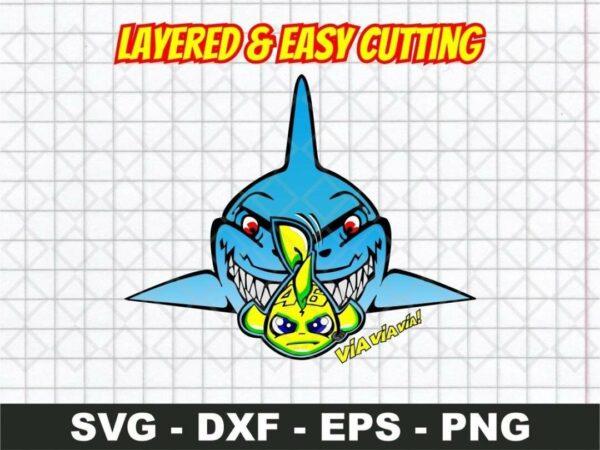 shark via via via Rossi 46 logo svg layered cut file