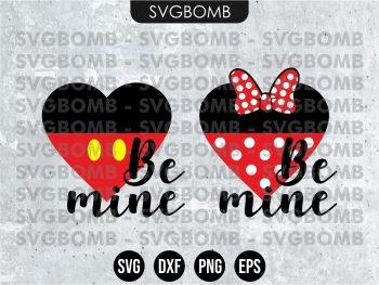 Be Mine Mickey Minnie Heart SVG