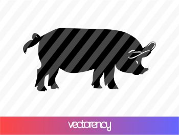 Black Silhouette Pig SVG