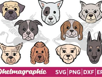 Dog Head Face Bundle SVG EPS PNG DXF