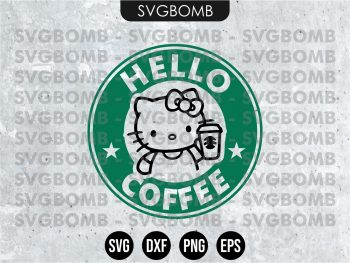 Hello Coffee Hello Kitty Starbuck SVG