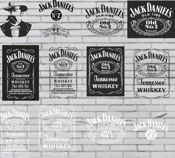 JackDaniels Vectorency Jack Daniels Whiskey svg vector Logo Bundle Layered Svg PDF EPS dxf Cut File Silhouette Instant Download