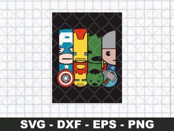 Mini Avengers Captain America Iron Man Hulk Thor SVG