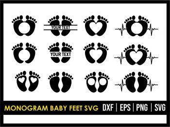 Monogram Baby Feet SVG