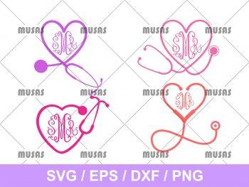 Monogrammed Heart Stethoscope SVG