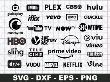 Popular TV Streaming Services Logo SVG