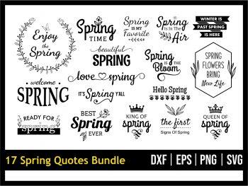17 Spring Quotes SVG Bundle