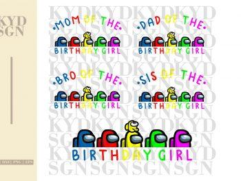 Among Us Birthday Girl SVG