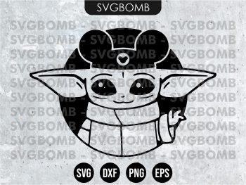 Baby Yoda Mickey Ears SVG