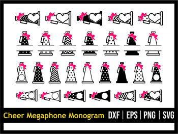 Cheer Megaphone Monogram SVG