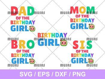 Family Birthday Girl Cocomelon SVG