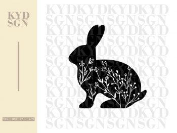 Floral Rabbit Silhouette SVG