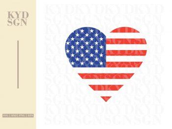 Heart American Flag SVG