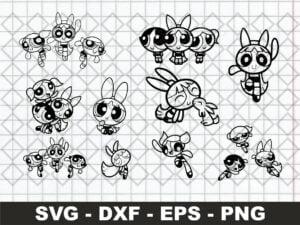 PowerPuff Girls Silhouette SVG