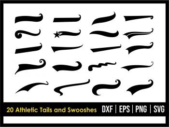 20 Athletic Tails and Swooshes SVG