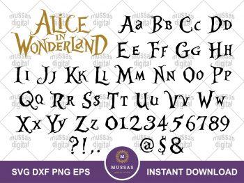 Alice in Wonderland Alphabets Font SVG