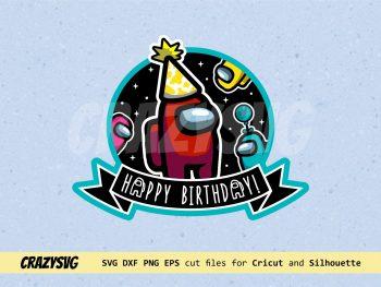 Among Us Birthday Cake Topper SVG