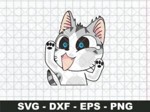 Cat Funny Sticker SVG