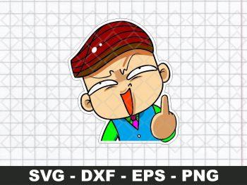 Chibi Maruko Chan Kazuhiko Hanawa Funny Sticker SVG